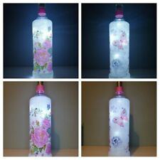 LED Light Up Bottle Roses and Butterflies Handmade with decoupage