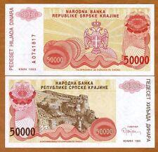 Croatia, Knin 50000 (50,000) Dinara, 1993, Pick R21, XF- aUNC