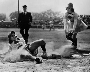 SOPHIE KURYS 8X10 PHOTO RACINE BELLES AAGPBL BASEBALL PICTURE SLIDING