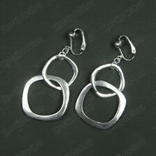 CLIP ON chunky interlocking hoops SILVER FASHION HOOP DROP EARRINGS square hoop