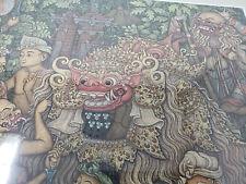 "Balinese Painting of Barong Dance by waya warsa framed matted 26"" x 28"""