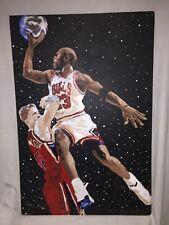 "Michael Air Jordan Hand Painted 48"" x 32"" Card Board Art Poster Outer Space Jam"
