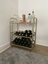 Modern Contemporary Gold Drinks Cart Trolley New Bar Home Deco