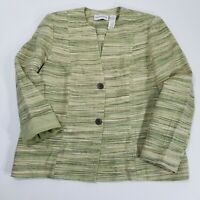 ALFRED DUNNER Womens Green Tweed Dress Lined Blazer Size 12 Long Sleeve Jacket