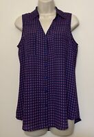 Express Small Sleeveless Button Down Blouse Blue Pink Collared Tank Top