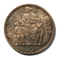 Italy Vittorio Emanuele III Mother & 3 Children 5 Lire 1936 R Silver Coin KM-79