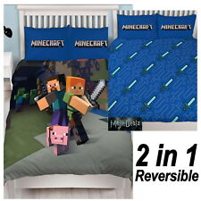 NEW MINECRAFT GAME DOUBLE DUVET QUILT COVER SET BOYS GIRLS CHILDREN KIDS BEDROOM