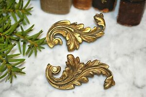Antique Pair French Acanthus Scroll Gilt Bronze Small Decorative Mounts