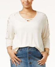STYLE & CO Retro Refresh Warm Ivory Lace Shoulder 3/4 Sleeve Top WOMENS 3X $57
