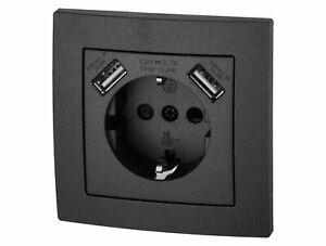 Einbausteckdose mit 2x USB anthrazit schwarz - UP Steckdose für Dose 60mm