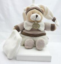 Doudou et Compagnie doudou velours ours blanc beige graines de doudou 21 cm