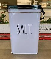"Rae Dunn - White Tin SALT Storage Canister - 8""H X 5""W X 3""D"