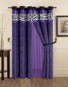 6 pc Purple Black White Zebra Leopard Curtains Panels Drapes Sheer Set 84 inch L
