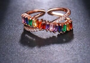 UNDERSTATED ROSE GOLD Multi Coloured CZ Adjustable Cuff Ring By Rocks Boutique