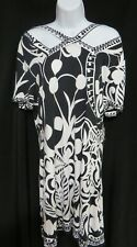Soft Surroundings Black & White Bold Print Stretch Dress Tall Medium