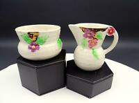 "WADE HEATH ENGLAND FLORAL AND BASKETWEAVE LUSTER 3 1/4"" CREAMER AND SUGAR SET"