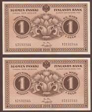 FINLAND  1 Markka  1916     Two consecutive notes   UNC
