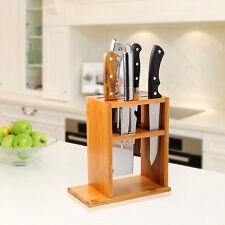 Natural Wood Bamboo Kitchen Knife Holder Scissor Storage Organizer