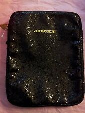 Victoria's Secret Black Glitter Tablet Holder - Zip Close NWOT RARE NEW