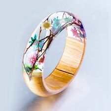 Wood Resin Bracelet Women Men Handmade Flower Bangle Wooden Floral Jewelry Gift