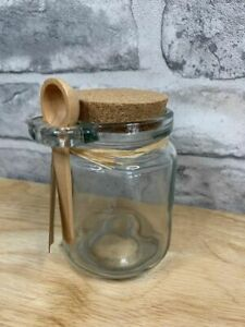 Glass Storage Jar with Cork Lid and   Small Wooden Serving Spoon