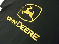 John Deere Mens Medium Black T-Shirt Yellow Logo Spell Out Leaping Deer Graphic
