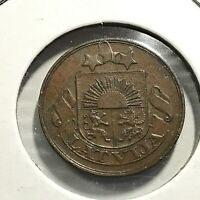 1922 LATVIA 2 SANTINI BETTER GRADE COIN