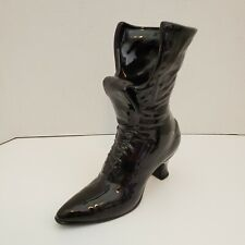 Large Victorian Boot Laced Ceramic Vase Painted Gloss Black 10 Inches Tall