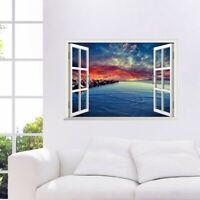 3D Landschaft Meer Fensterbild Wandsticker Wandtattoo See Urlaub Wandaufkleber