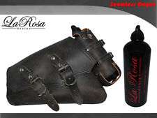 LaRosa Sportster Left Saddlebag & Bottle - Rustic Black Leather ClaSICK Style