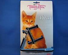 Cat Harness and Lead Set - Velvet Stitch Blue - Diva Formal Wear