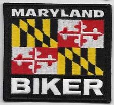 MARYLAND STATE  BIKER FLAG EMBROIDERED IRON ON PATCH