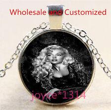 Marilyn Monroe Cabochon Tibetan silver Glass Chain Pendant Necklace #4769