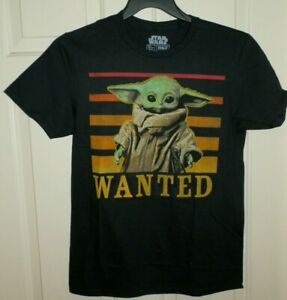 New Mens 2XL 50-52 Baby Yoda Wanted T-Shirt Mandelorian Star Wars The Child