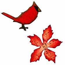 Sizzix Mini Cardinal & Poinsettia magnetic die set #658266 Retail $15.99 Holtz!