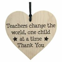 Teachers Change The World Wooden Hanging Heart Shabby Chic Thank You Gift B7Y8