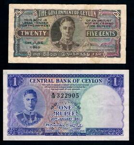 CEYLON • KGVI • 25 Cents (1948) and 1 Rupee (1951) Banknotes