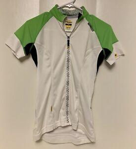 Mavic Women's CYCLING JERSEY USA S Back pockets Full Zip White Lime Black Small