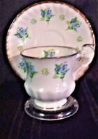 Queens Rosina Fine China Tea Cup & Saucer White w Blue Yellow Floral Gold Trim