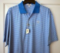 NEW PETER MILLAR Mens Large S/S Polo 100% Cotton Golf Shirt Striped Blue White