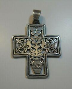 JAMES AVERY / Sterling Silver Christian Cross Pendant / Butterfly Bird Flower