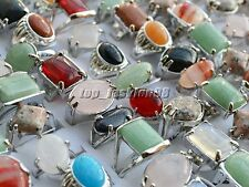 Wholesale lots of jewelry 5pcs Big assorted Natural Gemstone Silver P Rings