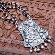 Indian Ethnic Necklace Black Gemstone Beaded Silver Antique Traditional Jewelry
