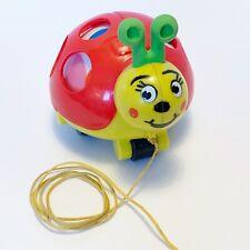 Vtg ladybug bug pull toy plastic