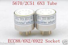 2piece*Gold plated 5670 6N3 2C51 instead ECC88 6922 6N2 tube converter adapter