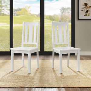 Farmhouse Classic Wood Mission Slat Style Dining/Kitchen Chairs, Set of 2, White