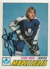 STAN WEIR  Authentic Signed Autograph 1977 OPC Toronto Maple Leafs Hockey Card