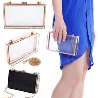 Women Stylish Transparent Box Clutch Acrylic Evening Handbag Crossbody Bag Purse