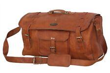 "20"" Leather Travel Bag Men Luggage Weekend Haldol Gym Bag With Leather Flap"