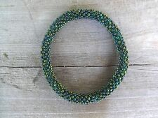 Peacock Green Beaded Bracelet roll on your wrist Handmade SB40